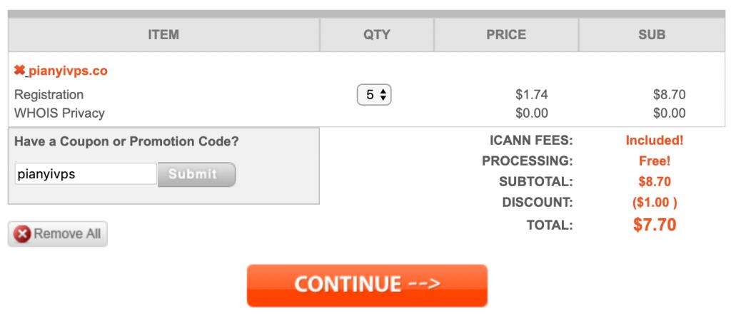 NameSilo:.CO 域名超级促销,$0.74/年,$7.70/5年,支付宝付款,赠送 Whois 隐私保护